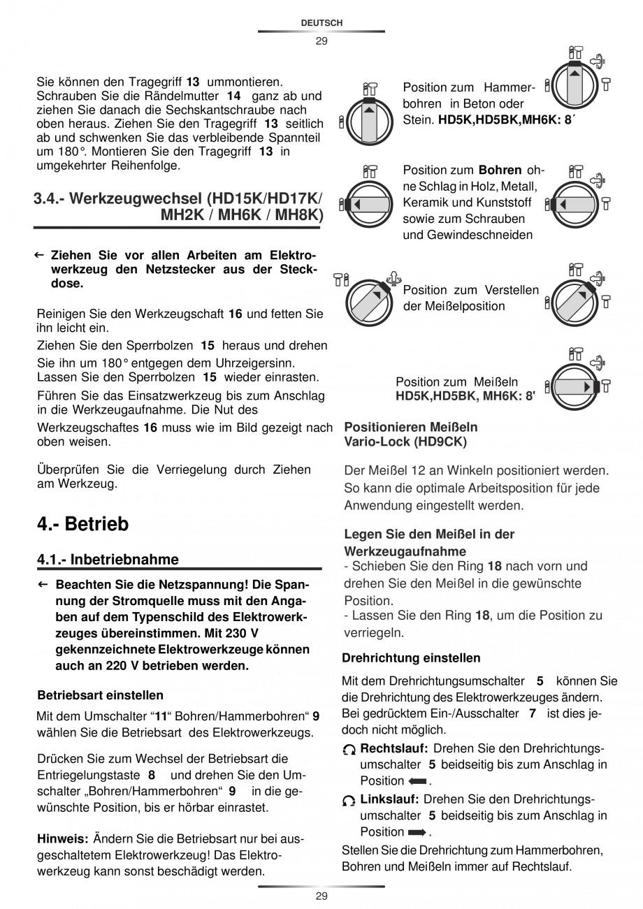 Pagina 29 - Ciocan rotopercutor 1250 W STAYER SDS-plus MH 8K Instructiuni montaj, utilizare Engleza,...