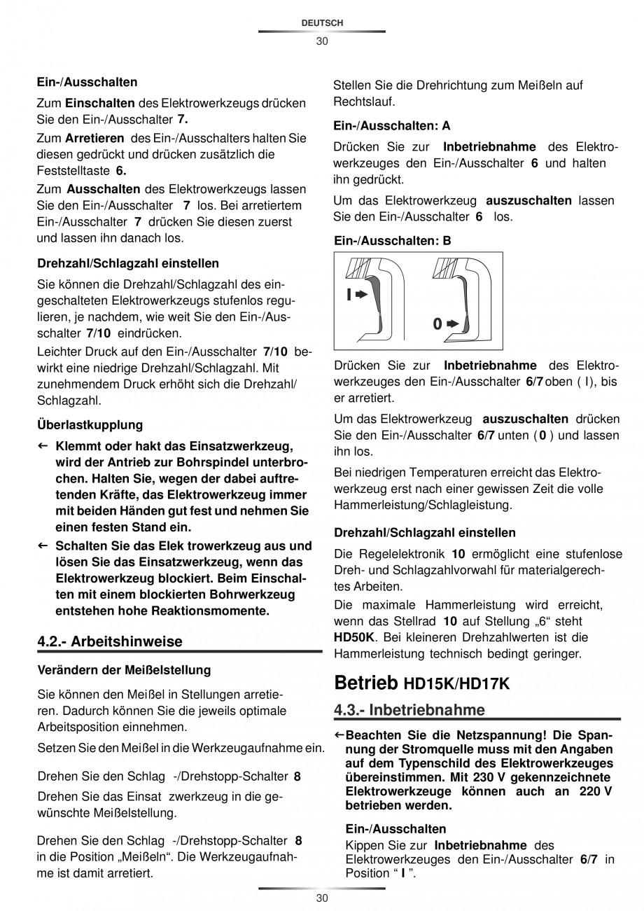 Pagina 30 - Ciocan rotopercutor 1250 W STAYER SDS-plus MH 8K Instructiuni montaj, utilizare Engleza,...