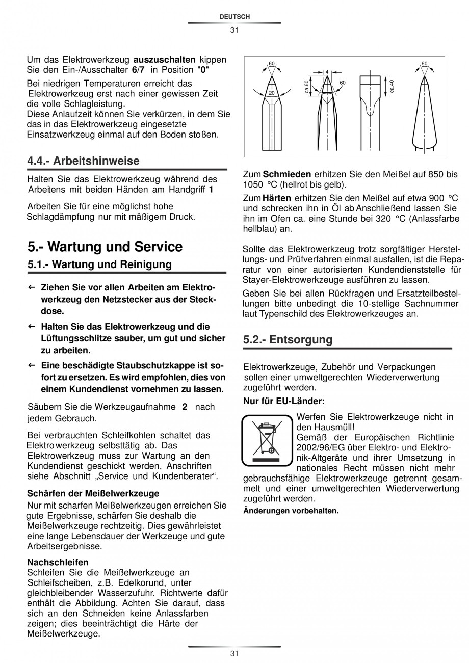 Pagina 31 - Ciocan rotopercutor 1250 W STAYER SDS-plus MH 8K Instructiuni montaj, utilizare Engleza,...