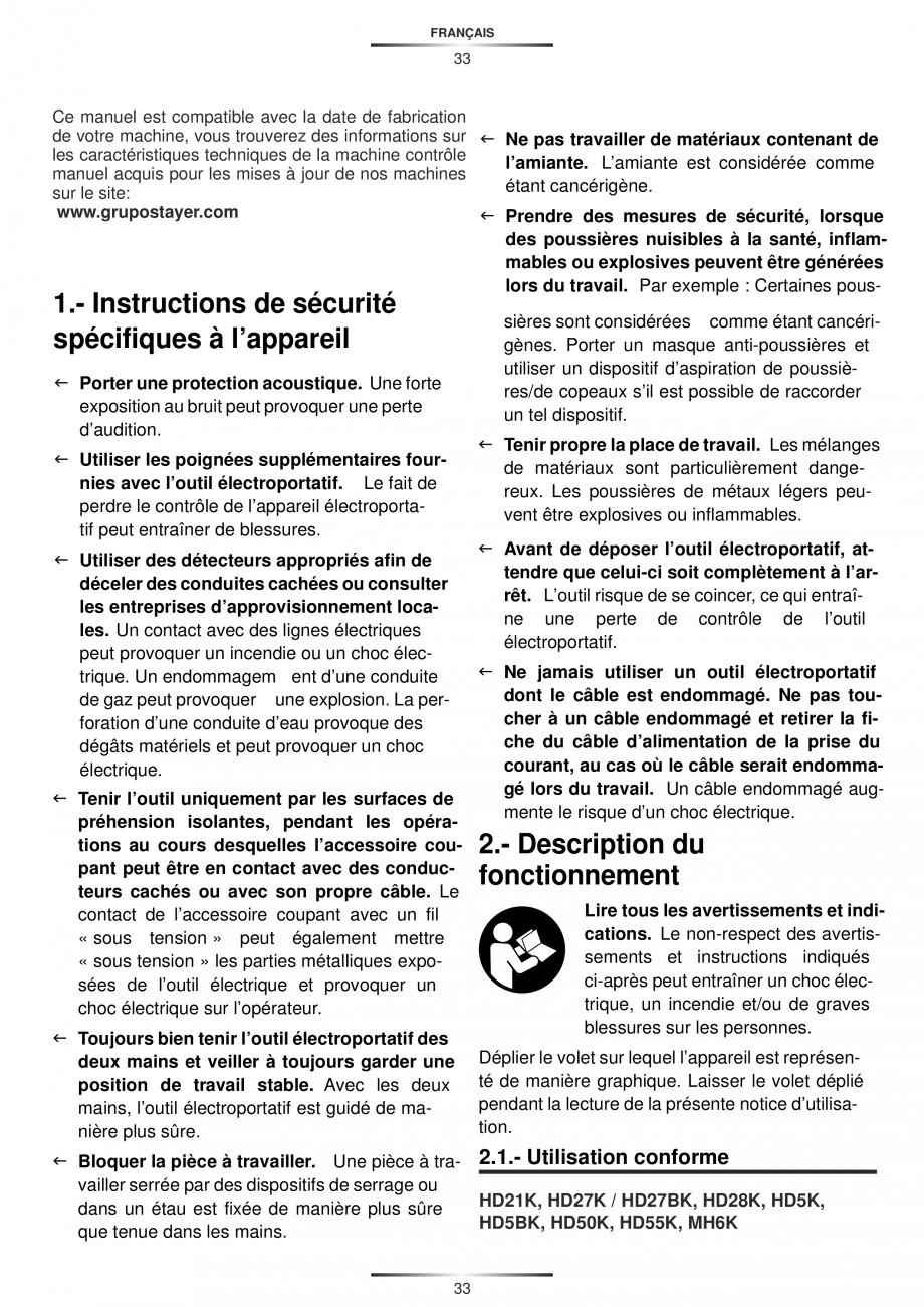 Pagina 33 - Ciocan rotopercutor 1250 W STAYER SDS-plus MH 8K Instructiuni montaj, utilizare Engleza,...