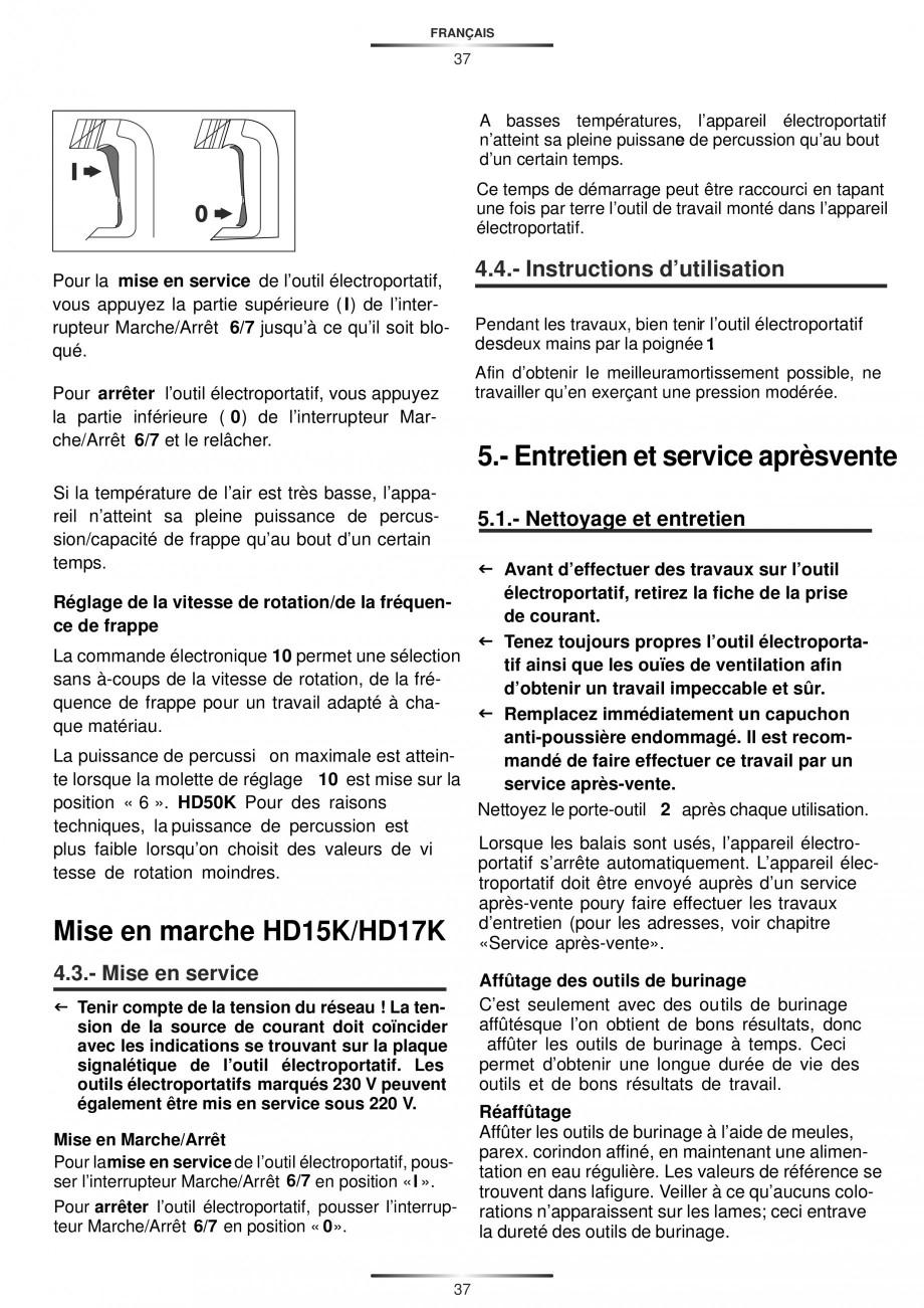 Pagina 37 - Ciocan rotopercutor 1250 W STAYER SDS-plus MH 8K Instructiuni montaj, utilizare Engleza,...