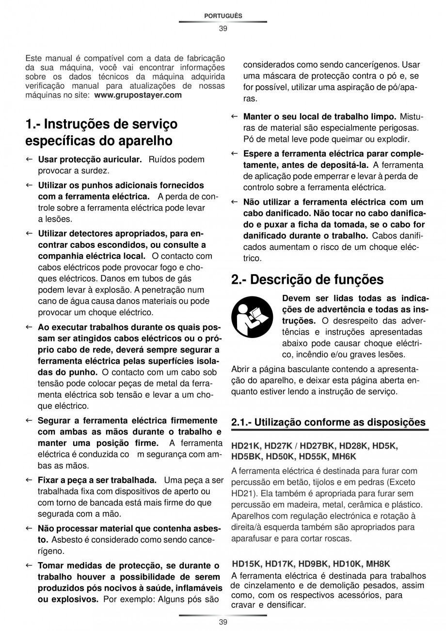 Pagina 39 - Ciocan rotopercutor 1250 W STAYER SDS-plus MH 8K Instructiuni montaj, utilizare Engleza,...