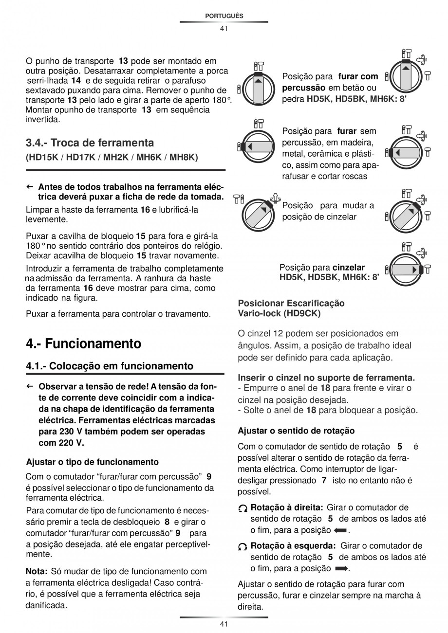 Pagina 41 - Ciocan rotopercutor 1250 W STAYER SDS-plus MH 8K Instructiuni montaj, utilizare Engleza,...