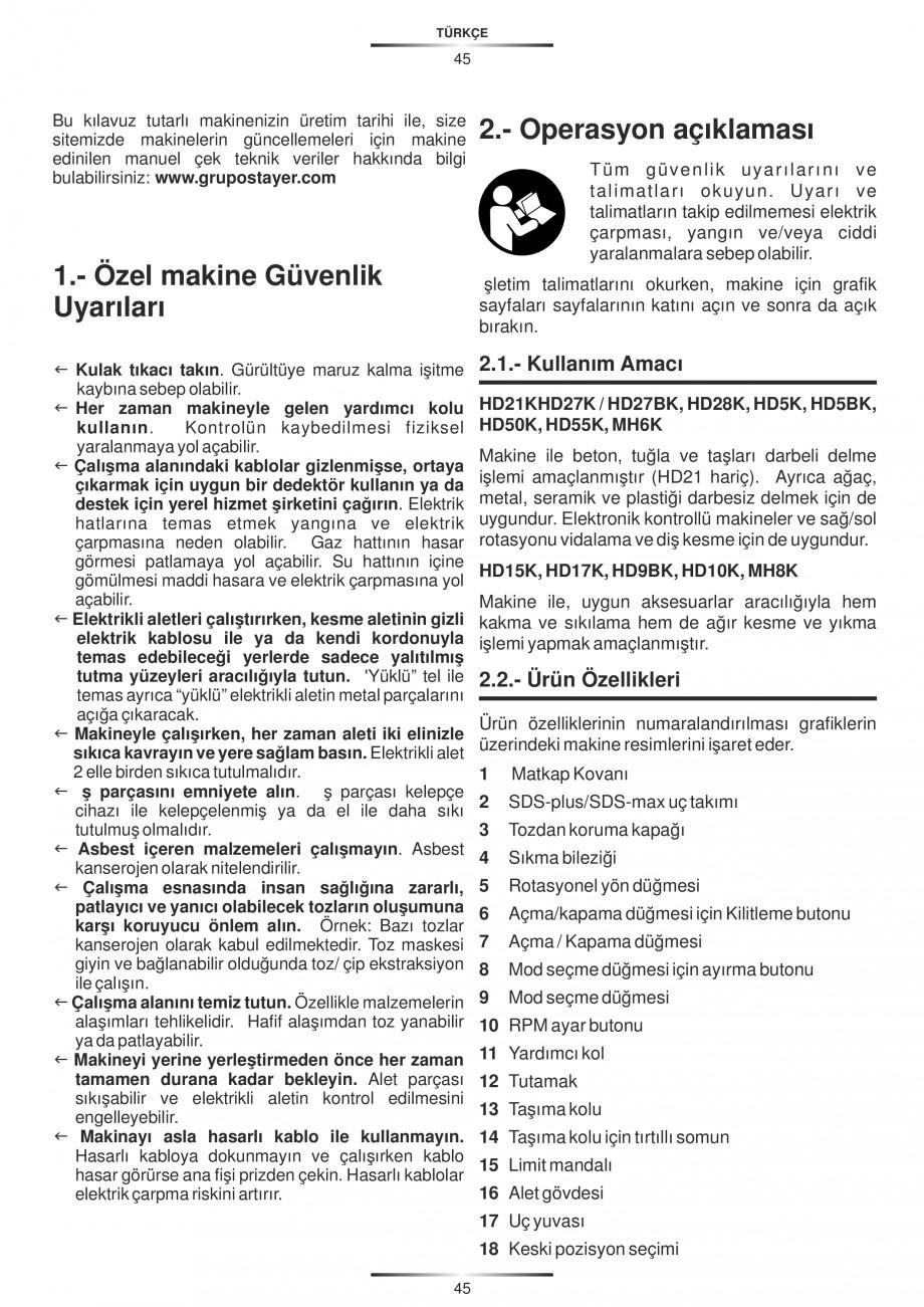 Pagina 45 - Ciocan rotopercutor 1250 W STAYER SDS-plus MH 8K Instructiuni montaj, utilizare Engleza,...
