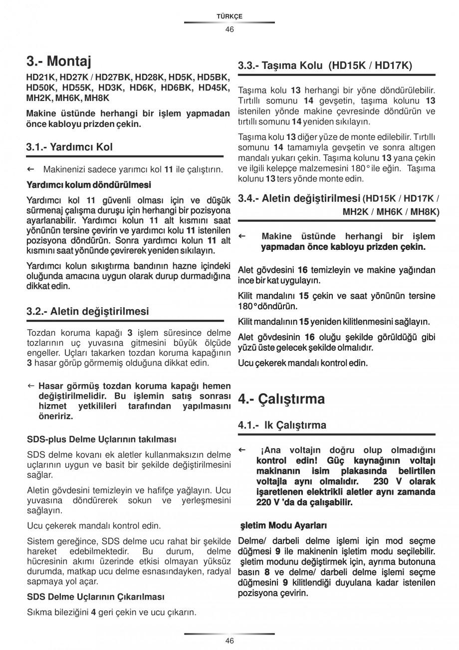 Pagina 46 - Ciocan rotopercutor 1250 W STAYER SDS-plus MH 8K Instructiuni montaj, utilizare Engleza,...