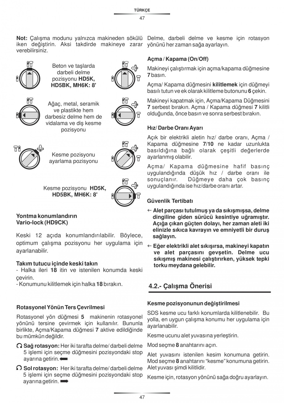 Pagina 47 - Ciocan rotopercutor 1250 W STAYER SDS-plus MH 8K Instructiuni montaj, utilizare Engleza,...