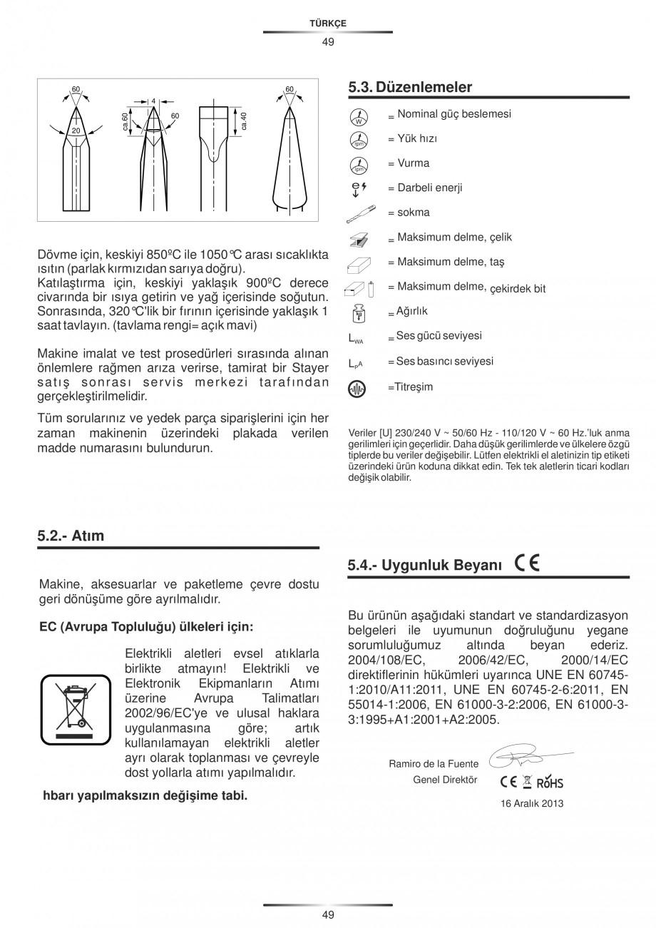 Pagina 49 - Ciocan rotopercutor 1250 W STAYER SDS-plus MH 8K Instructiuni montaj, utilizare Engleza,...