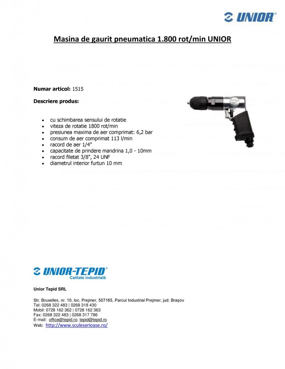 Pagina 1 - Masina de gaurit pneumatica 1.800 rot-min UNIOR Masina de gaurit pneumatica - 1515 Fisa...