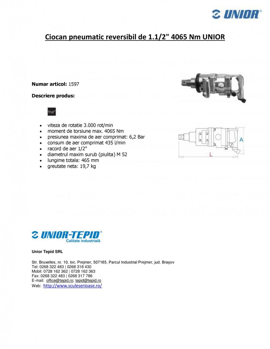 Pagina 1 - Ciocan pneumatic reversibil de 1.1 2 4065 Nm UNIOR Ciocan pneumatic 1597 Fisa tehnica...