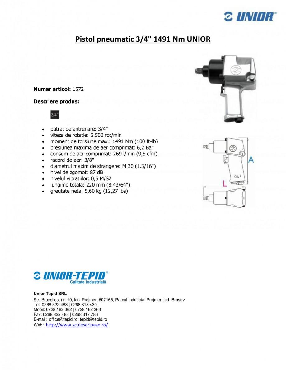 Pagina 1 - Pistol pneumatic 3 4 1491 Nm UNIOR Pistol pneumatic 1572 Fisa tehnica Romana Pistol...