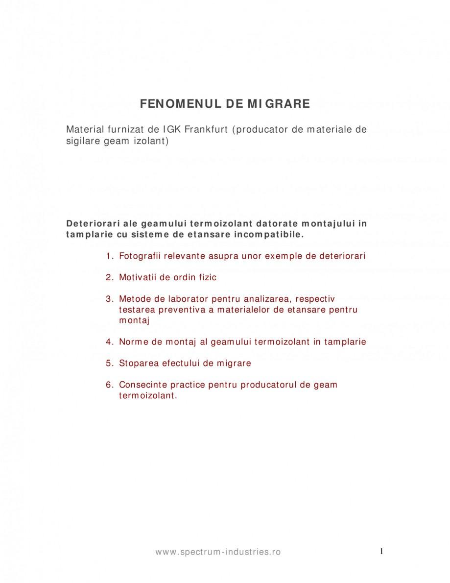 Pagina 1 - Fenomenul de migrare SPECTRUM INDUSTRIES Catalog, brosura Romana FENOMENUL DE MIGRARE...