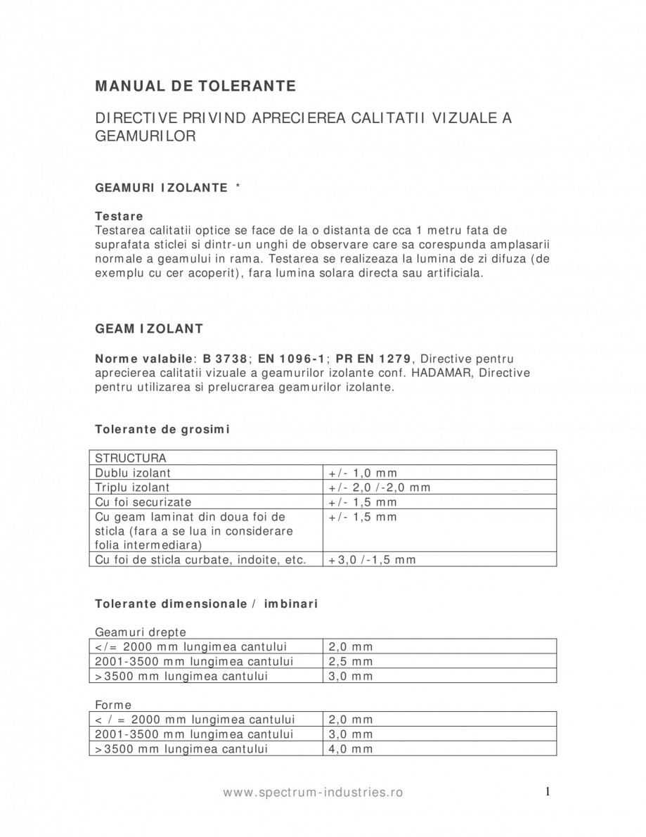 Pagina 1 - Manual de tolerante SPECTRUM INDUSTRIES Catalog, brosura Romana MANUAL DE TOLERANTE...
