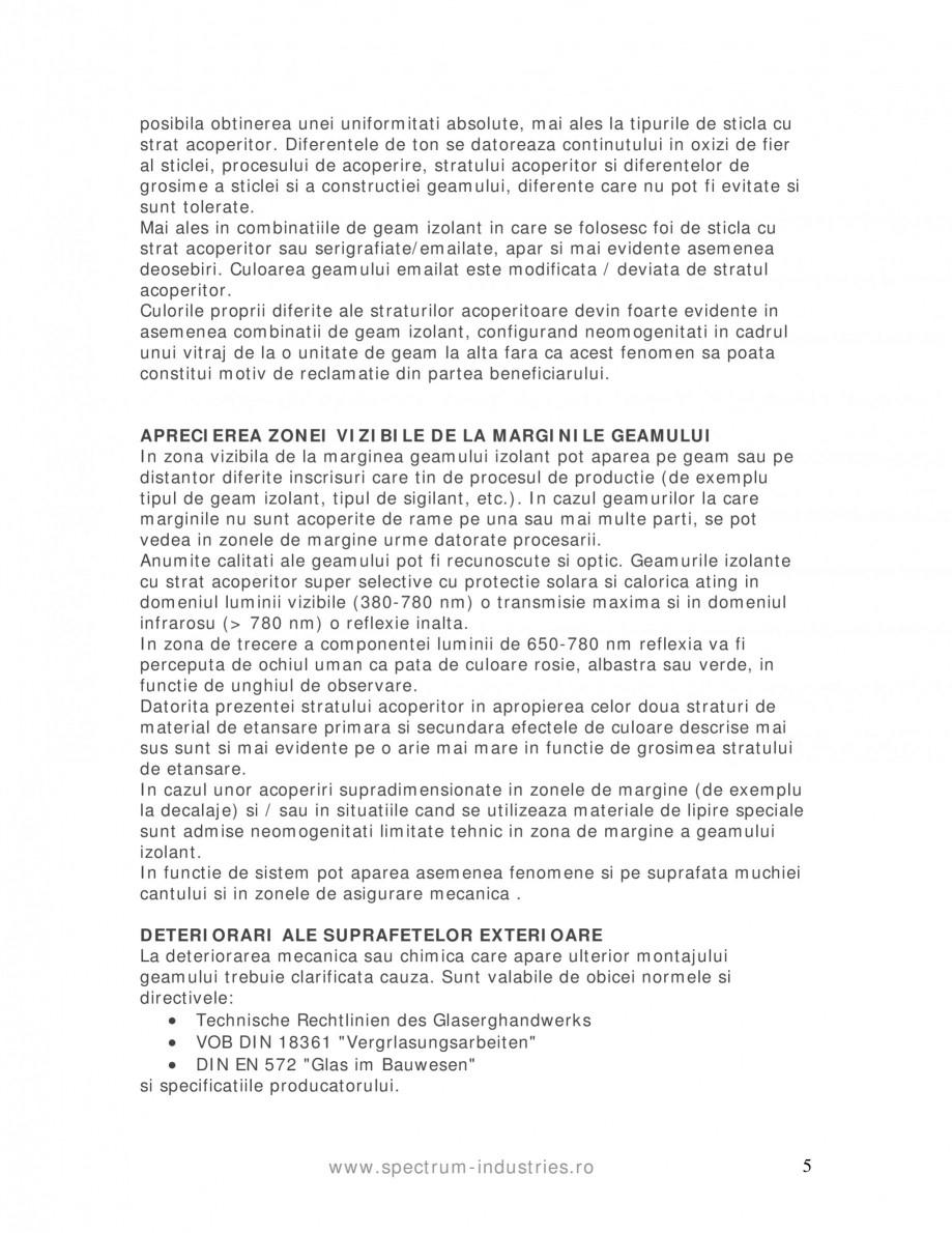 Pagina 5 - Manual de tolerante SPECTRUM INDUSTRIES Catalog, brosura Romana ticla Kalk-Natron Partea ...