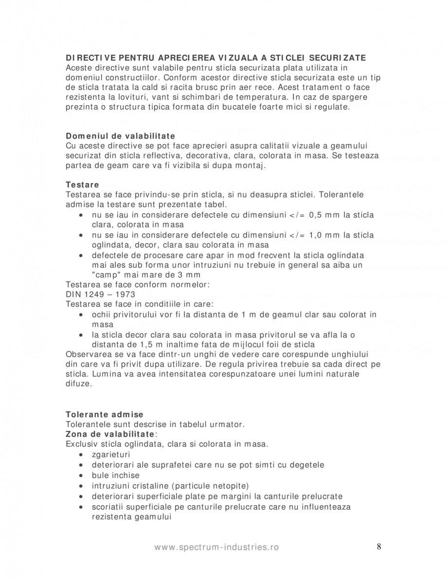 Pagina 8 - Manual de tolerante SPECTRUM INDUSTRIES Catalog, brosura Romana arului. APRECIEREA ZONEI ...