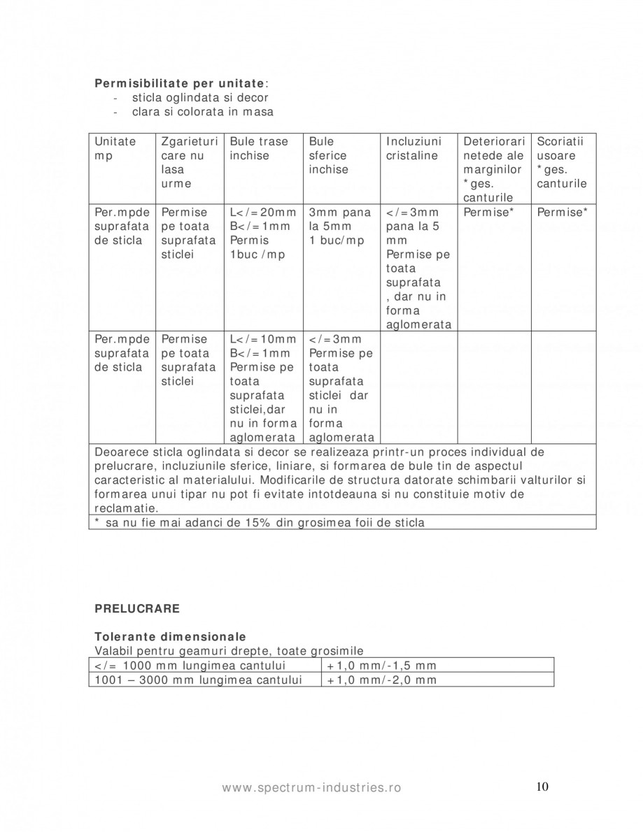 Pagina 10 - Manual de tolerante SPECTRUM INDUSTRIES Catalog, brosura Romana  Condensul pe suprafata ...