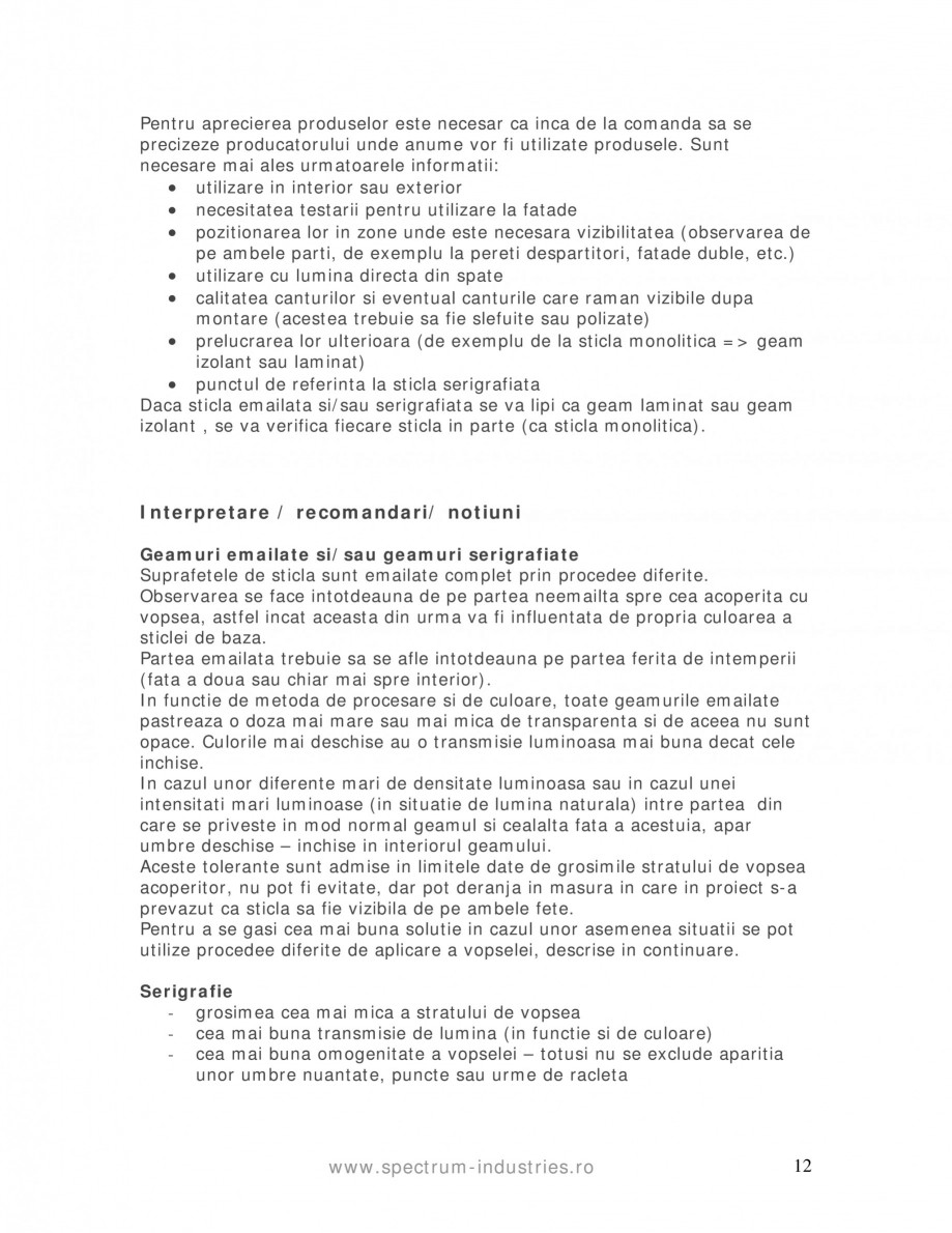 Pagina 12 - Manual de tolerante SPECTRUM INDUSTRIES Catalog, brosura Romana rvare este posibila...