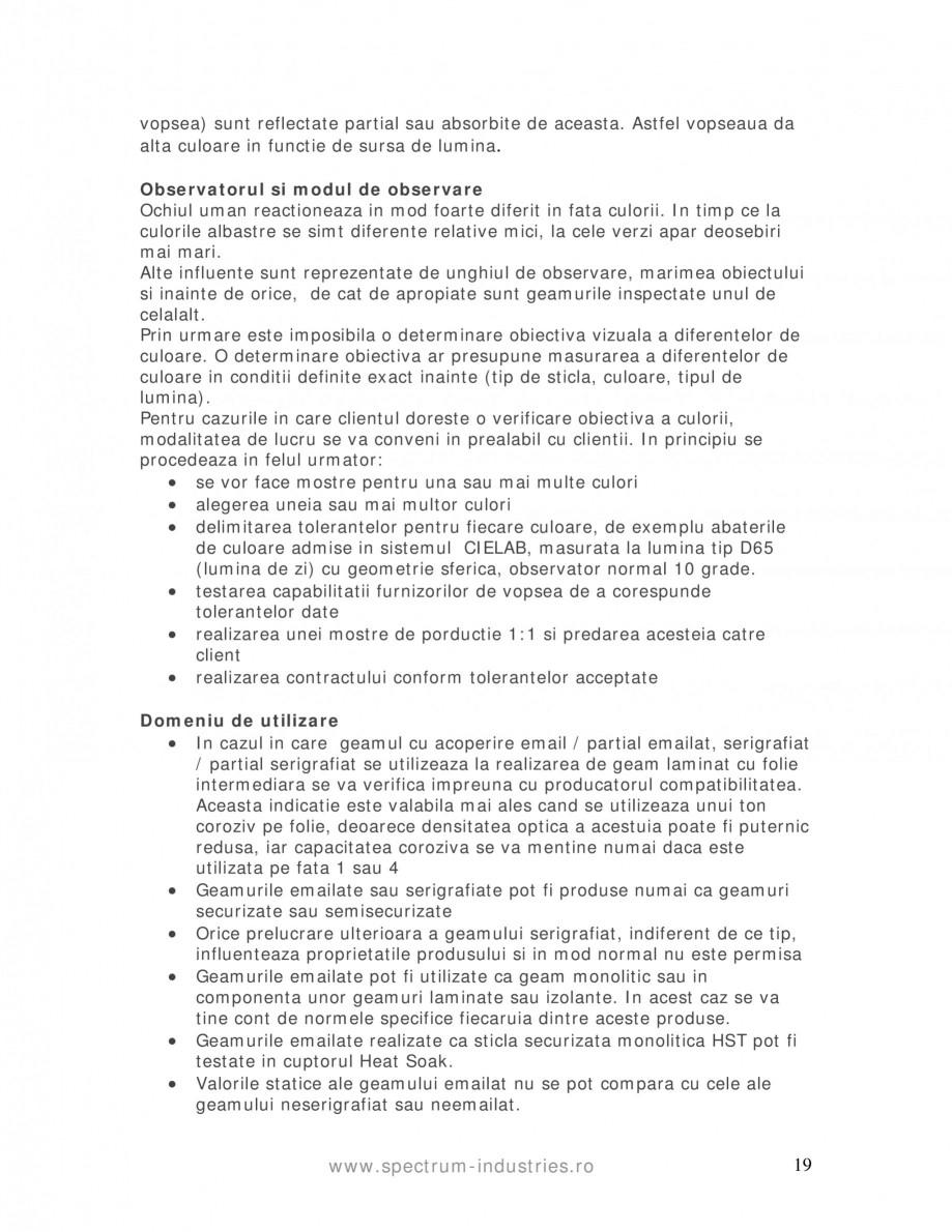 Pagina 19 - Manual de tolerante SPECTRUM INDUSTRIES Catalog, brosura Romana foii de sticla F = zona ...