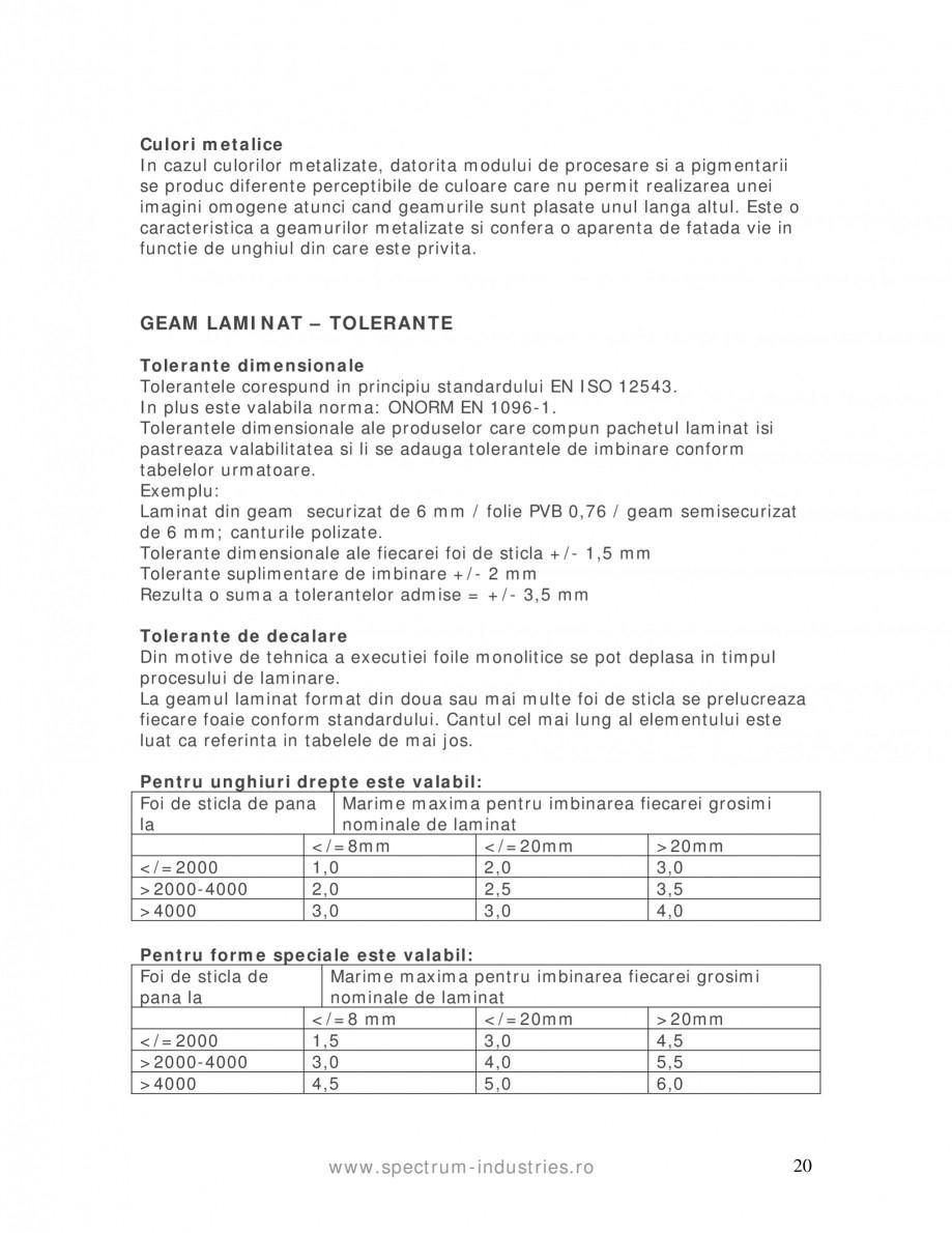 Pagina 20 - Manual de tolerante SPECTRUM INDUSTRIES Catalog, brosura Romana  sticlei  Bule sferice...