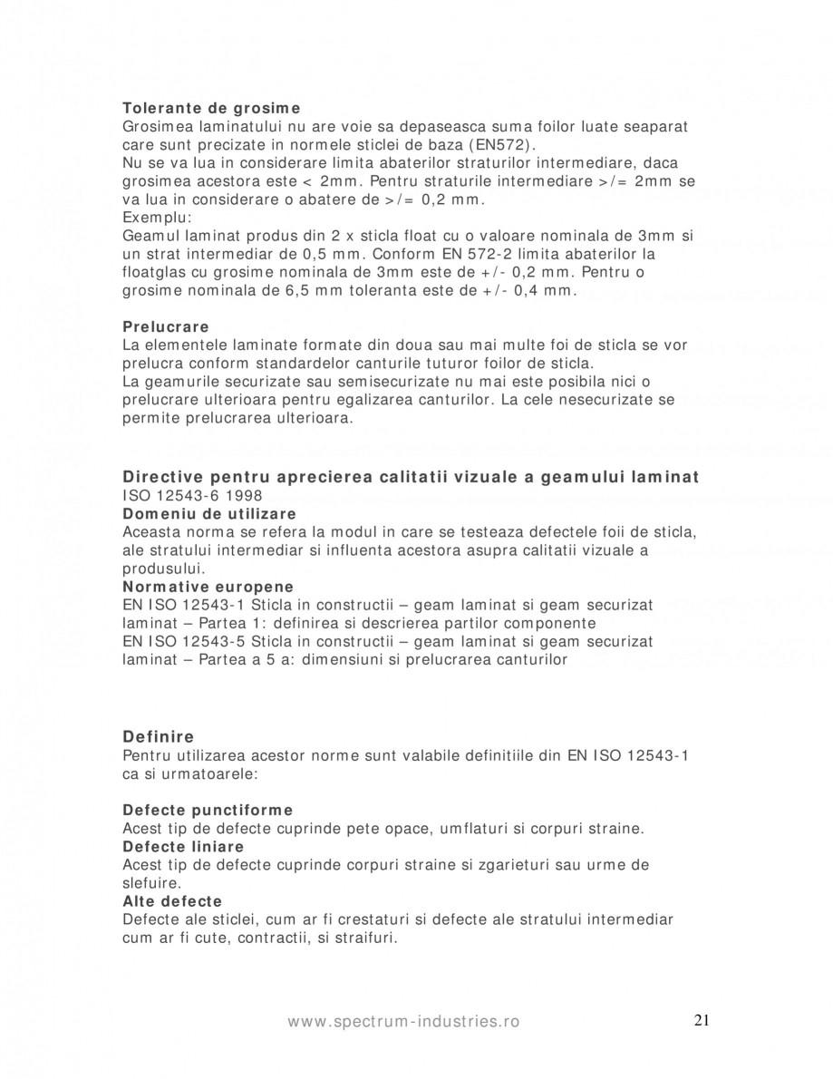 Pagina 21 - Manual de tolerante SPECTRUM INDUSTRIES Catalog, brosura Romana gimea cantului +1,0...