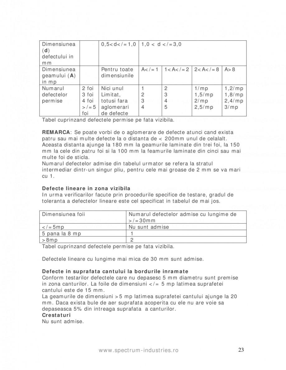 Pagina 23 - Manual de tolerante SPECTRUM INDUSTRIES Catalog, brosura Romana ales urmatoarele...