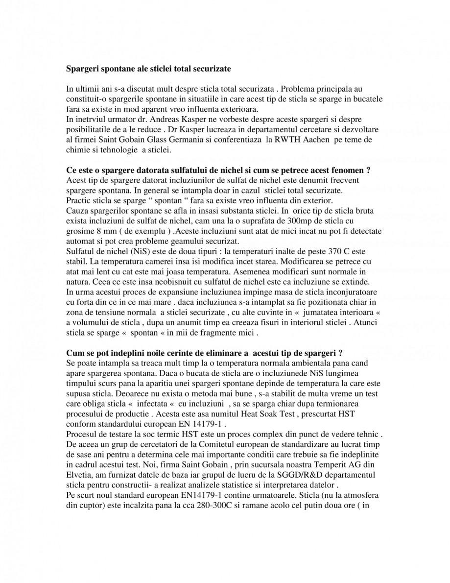 Pagina 1 - Spargeri spontane ale sticlei total securizate SPECTRUM INDUSTRIES Catalog, brosura...