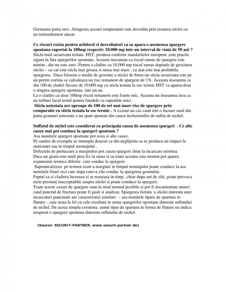 Pagina 2 - Spargeri spontane ale sticlei total securizate SPECTRUM INDUSTRIES Catalog, brosura...