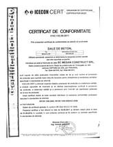 Certificat de conformitate ICECON CERT pentru dale din beton MEGAN CONSTRUCT