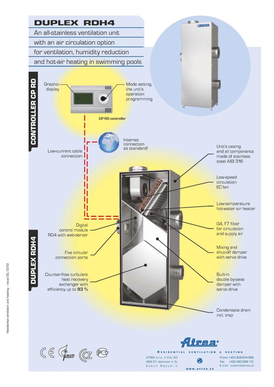 Pagina 1 - Centrala de ventilatie piscine ATREA DUPLEX RDH4 Fisa tehnica Engleza DUPLEX RDH4 ...