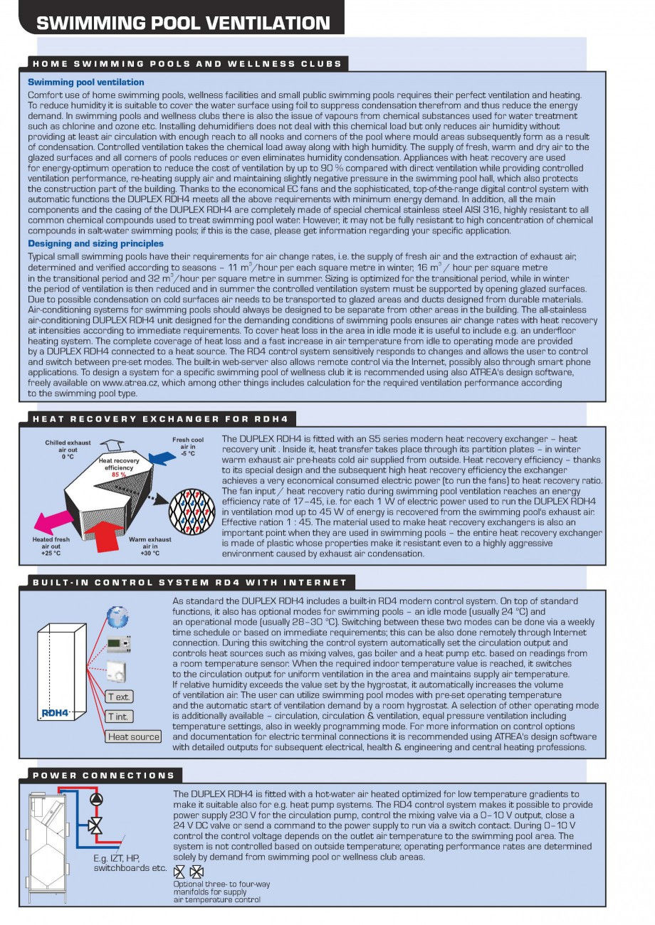 Pagina 2 - Centrala de ventilatie piscine ATREA DUPLEX RDH4 Fisa tehnica Engleza  +420 483 368 112...