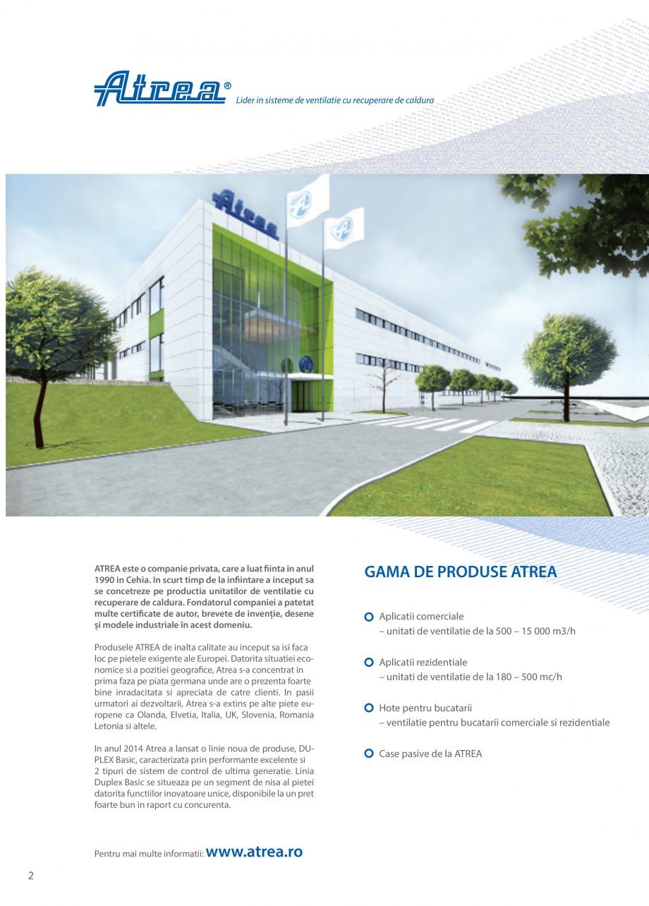 Pagina 2 - Unitate de ventilatie ATREA DUPLEX BASIC Catalog, brosura Romana . Linia Duplex Basic se ...