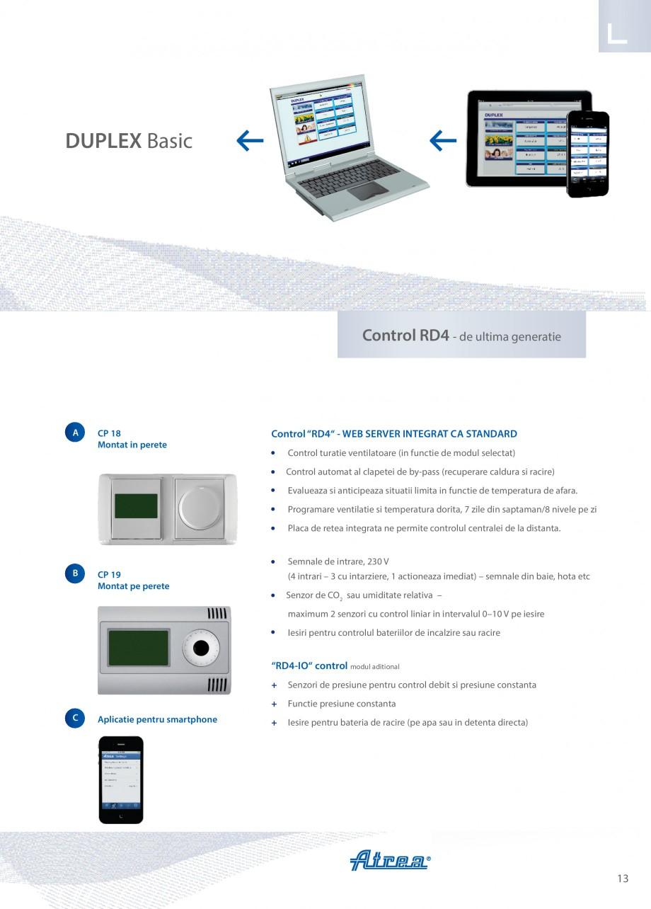 Pagina 13 - Unitate de ventilatie ATREA DUPLEX BASIC Catalog, brosura Romana ntate pe unitate si...
