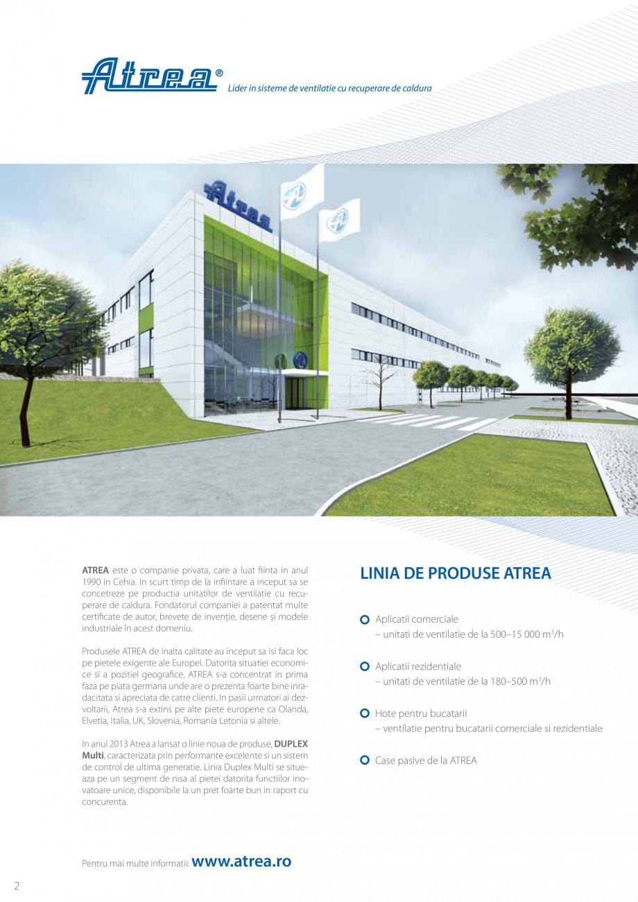 Pagina 2 - Unitate de ventilatie ATREA DUPLEX MULTI Catalog, brosura Romana eneratie. Linia Duplex...