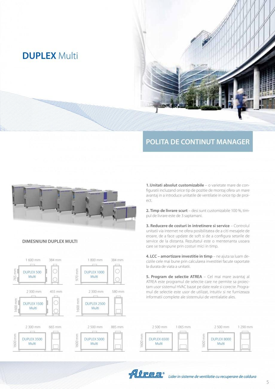 Pagina 5 - Unitate de ventilatie ATREA DUPLEX MULTI Catalog, brosura Romana � ATREA furnizeaza...