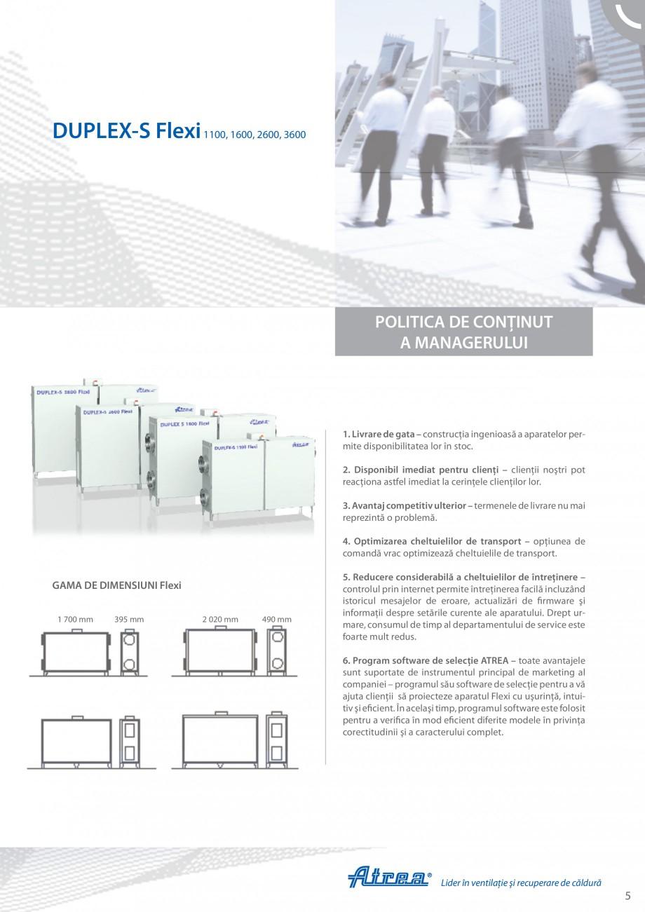 Pagina 5 - Unitate de ventilatie ATREA DUPLEX-S FLEXI Catalog, brosura Romana ţie. Greutatea mică ...