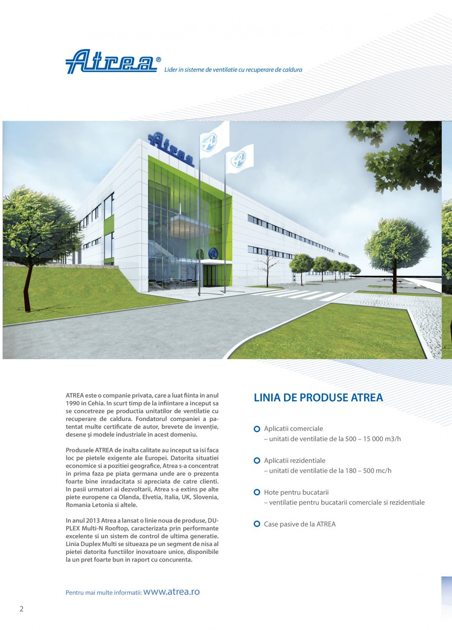 Pagina 2 - Unitate de ventilatie ATREA DUPLEX MULTI-N Rooftop Catalog, brosura Romana ma generatie. ...