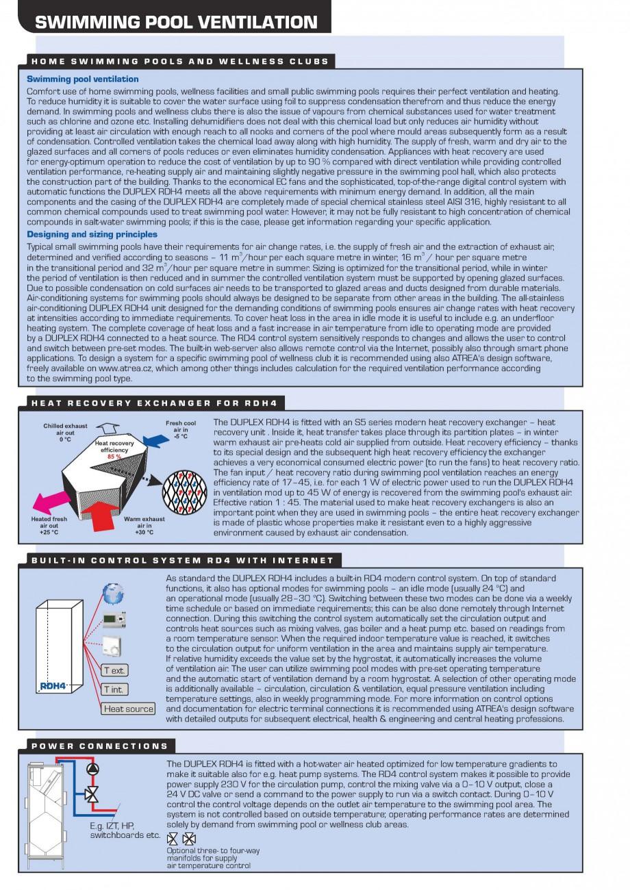 Pagina 2 - Centrala de ventilatie piscine ATREA DUPLEX RDH4 Fisa tehnica Romana  +420 483 368 112...