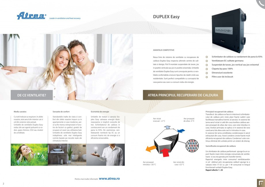 Pagina 2 - Sistem de ventilatie cu recuperare de caldura - Linia Rezidentiala ATREA DUPLEX EASY Fisa...