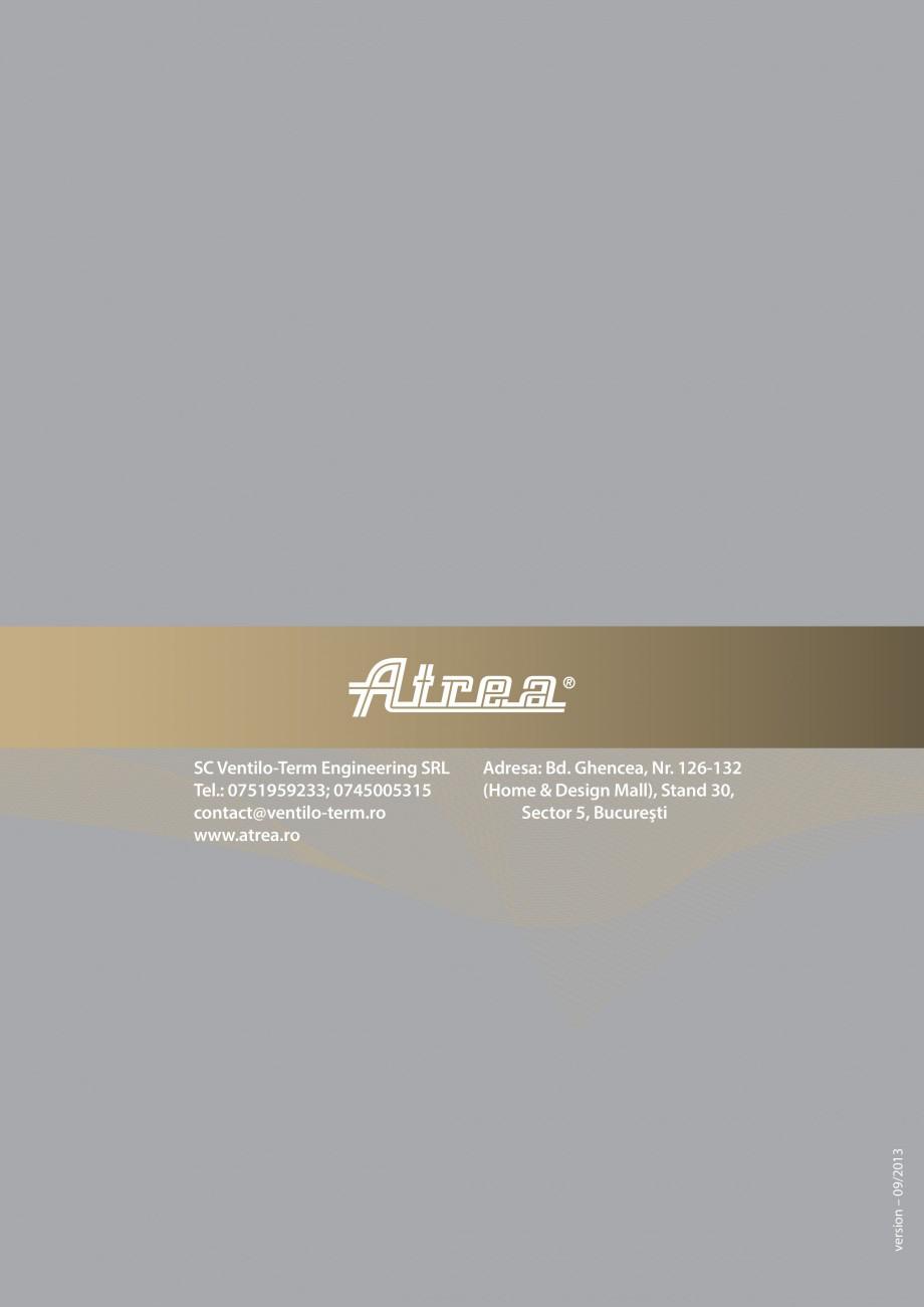 Pagina 5 - Sistem de ventilatie cu recuperare de caldura - Linia Rezidentiala ATREA DUPLEX EASY Fisa...