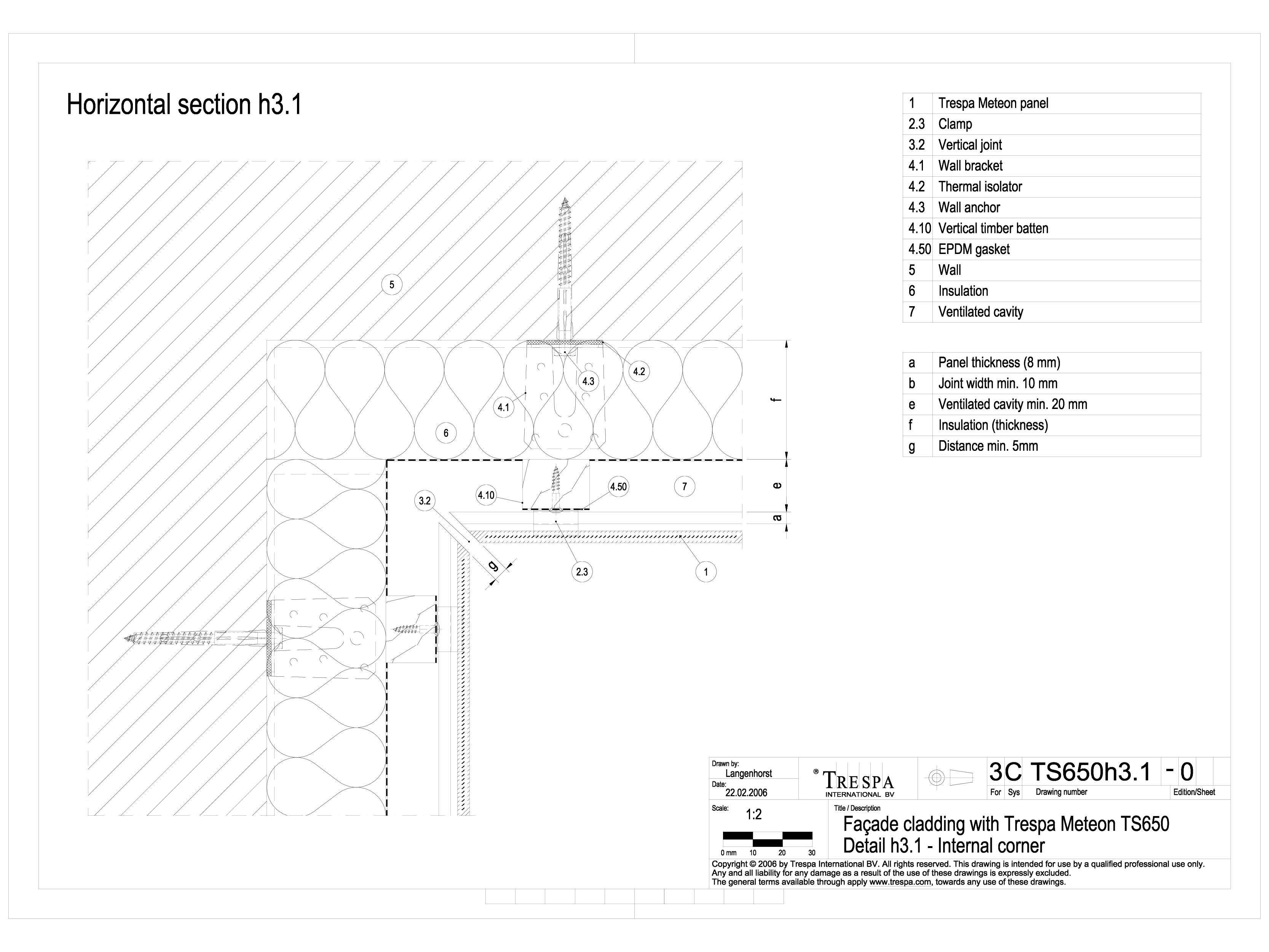 Pagina 1 - CAD-DWG Sisteme de prindere fatade ventilate cu clame, detaliu colt interior TRESPA...