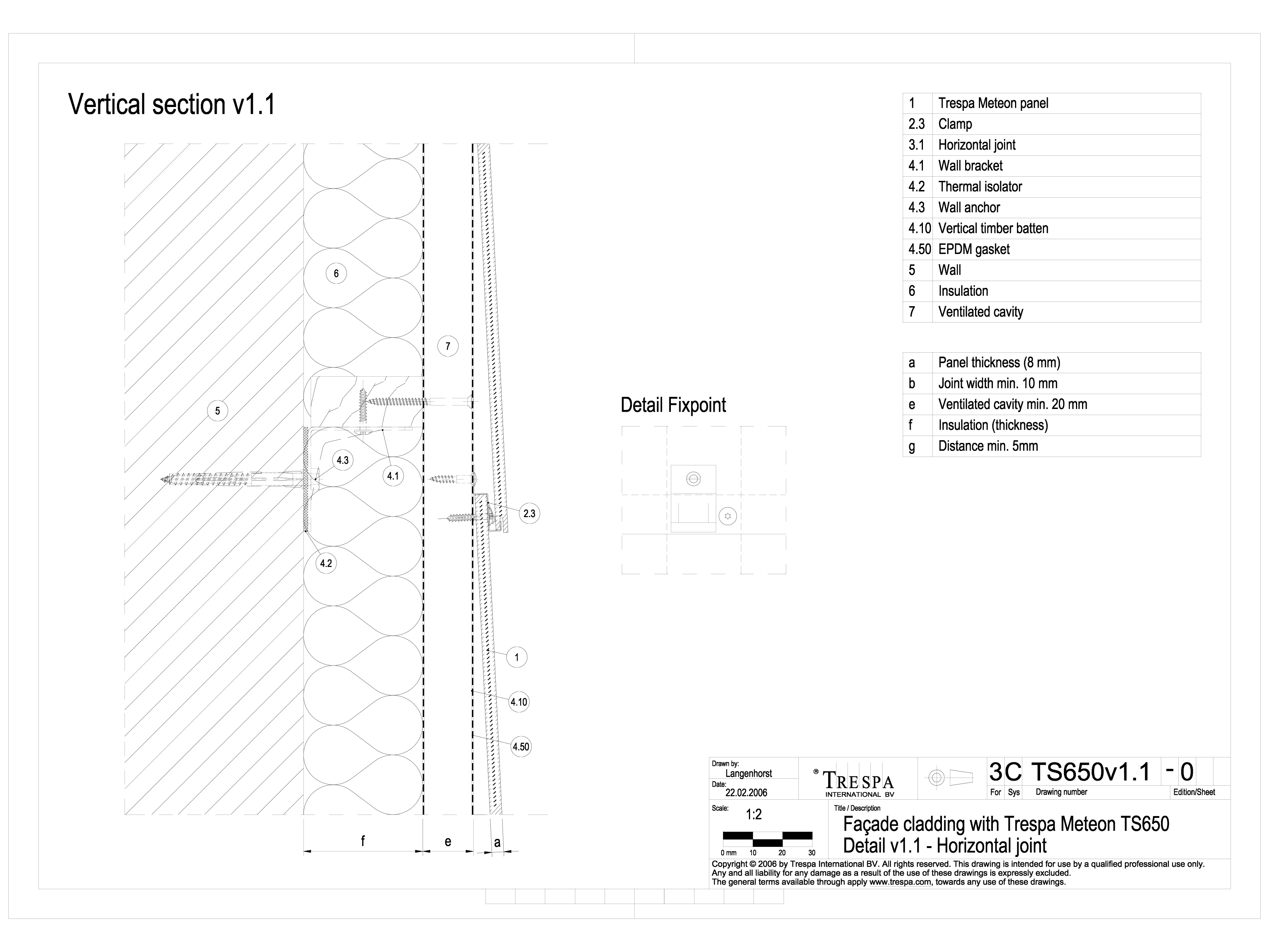 Sisteme de prindere fatade ventilate cu clame, detaliu de imbinare pe orizontala METEON TRESPA Placi HPL pentru fatade ventilate GIBB TECHNOLOGIES  - Pagina 1