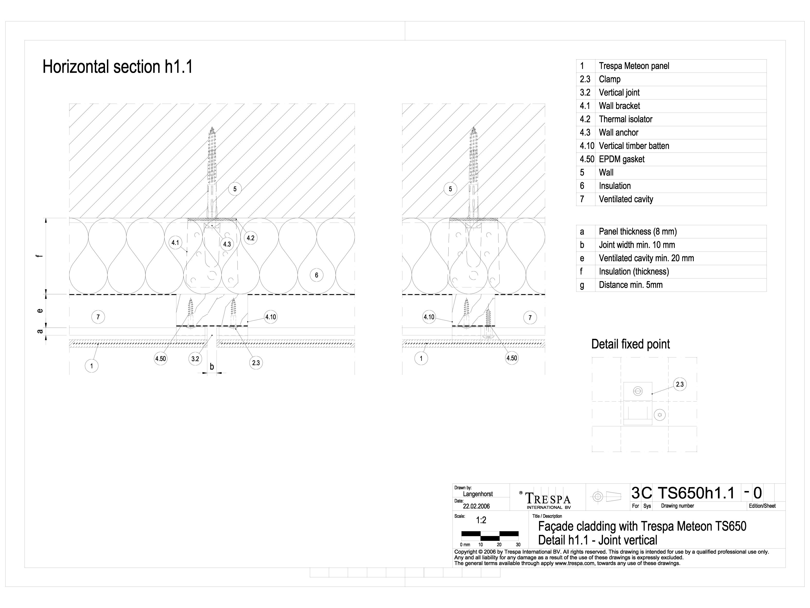 Pagina 1 - CAD-DWG Sisteme de prindere fatade ventilate cu clame, detaliu de imbinare pe verticala...
