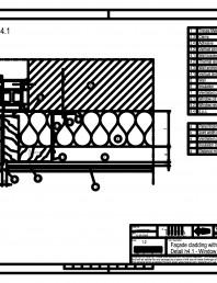 Sisteme de prindere fatade ventilate cu clame, detaliu de racordare la fereastra - Sectiune orizontala