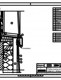 Sisteme de prindere fatade ventilate cu clame, detaliu de racordare la fereastra - Sectiune verticala