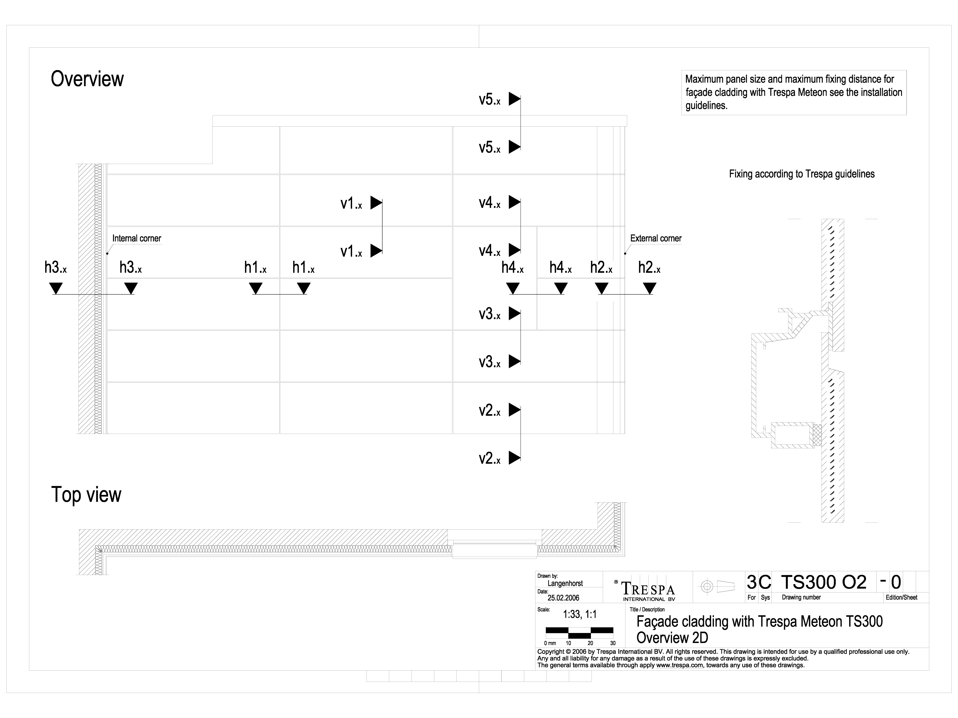 Pagina 1 - CAD-DWG Sisteme de prindere fatade ventilate cu profile oarbe TRESPA Detaliu de produs...
