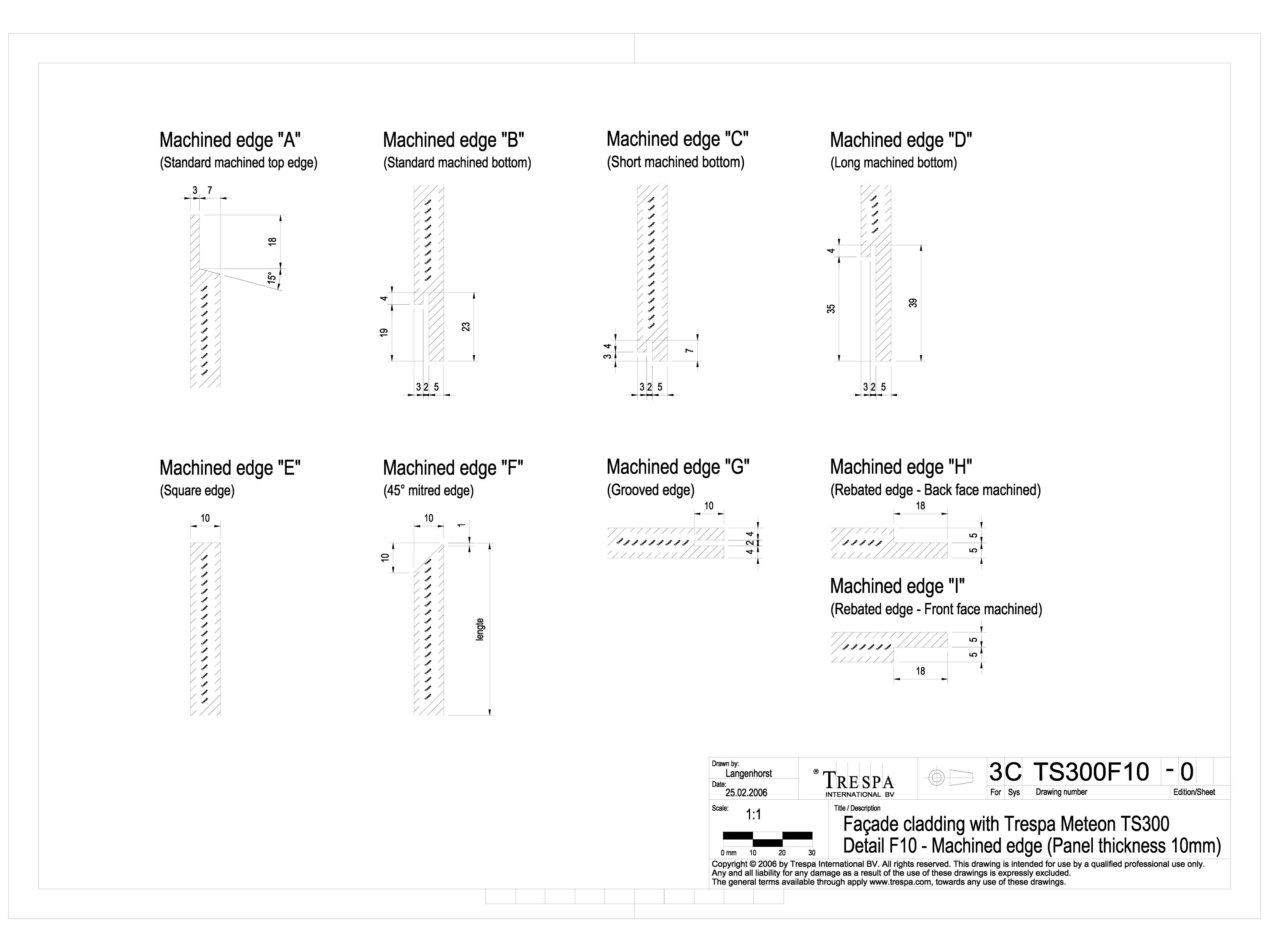 Pagina 1 - CAD-DWG Sisteme de prindere fatade ventilate cu profile oarbe de 10mm TRESPA Detaliu de...