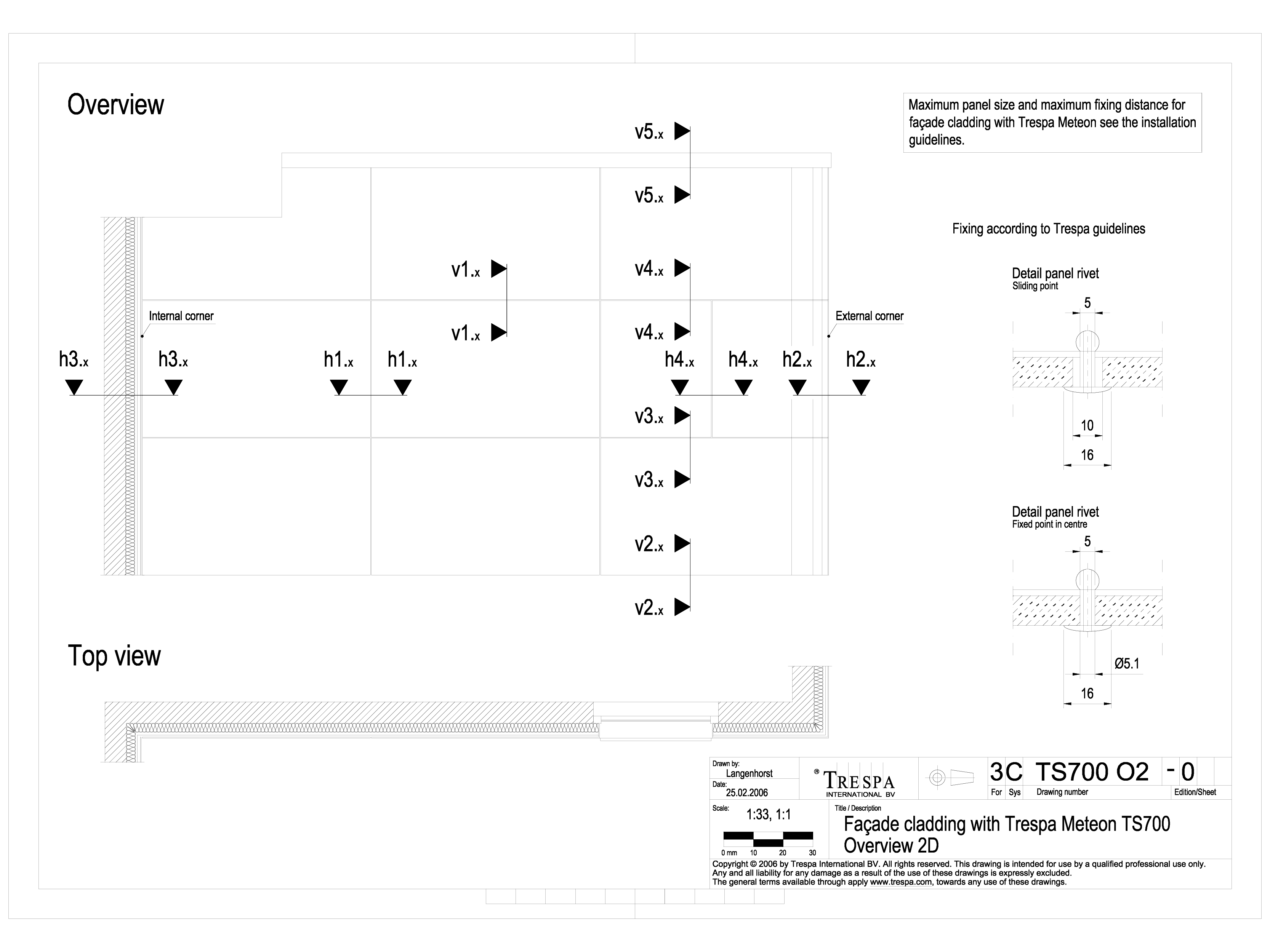 Pagina 1 - CAD-DWG Sisteme de prindere fatade ventilate invizibile cu nituri TRESPA Detaliu de...
