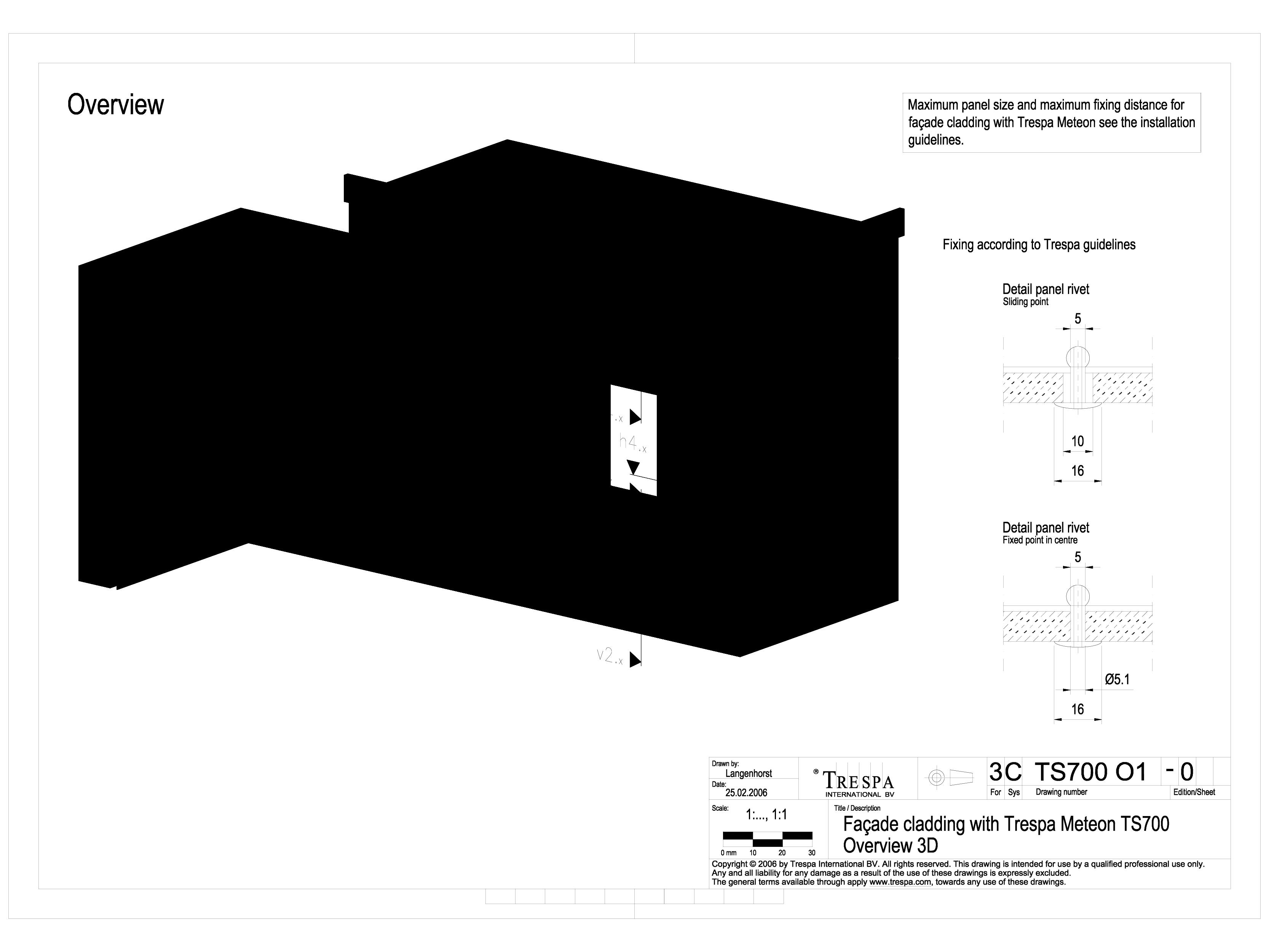 Pagina 1 - CAD-DWG Sisteme de prindere fatade ventilate invizibile cu nituri, detaliu 3D TRESPA...