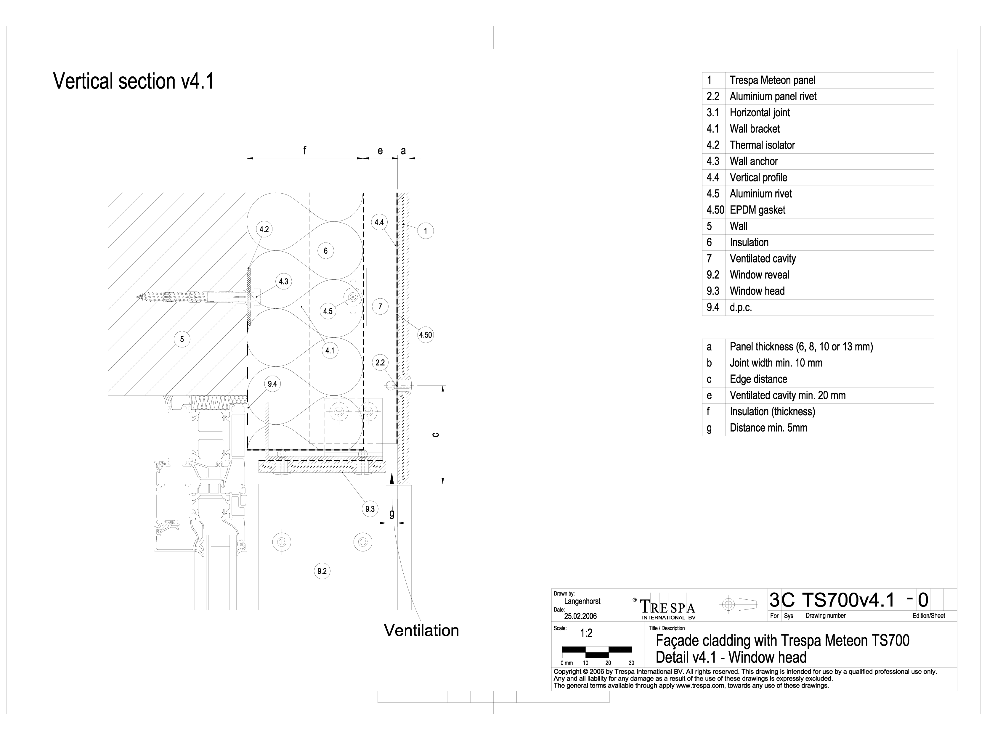 Pagina 1 - CAD-DWG Sisteme de prindere fatade ventilate invizibile cu nituri, detaliu ancadrament...
