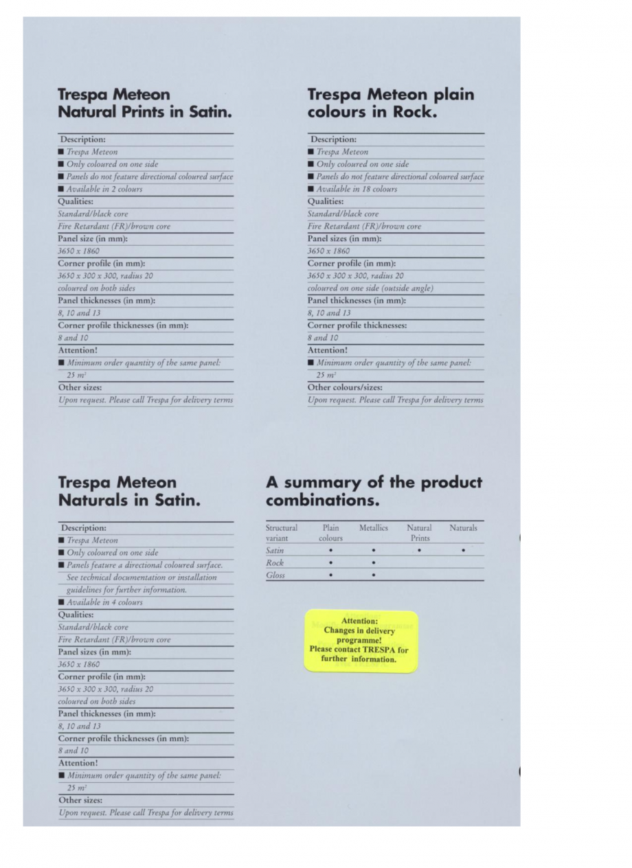 Pagina 1 - Informatii referitoare la culori - Sisteme de panouri pentru fatade ventilate TRESPA...