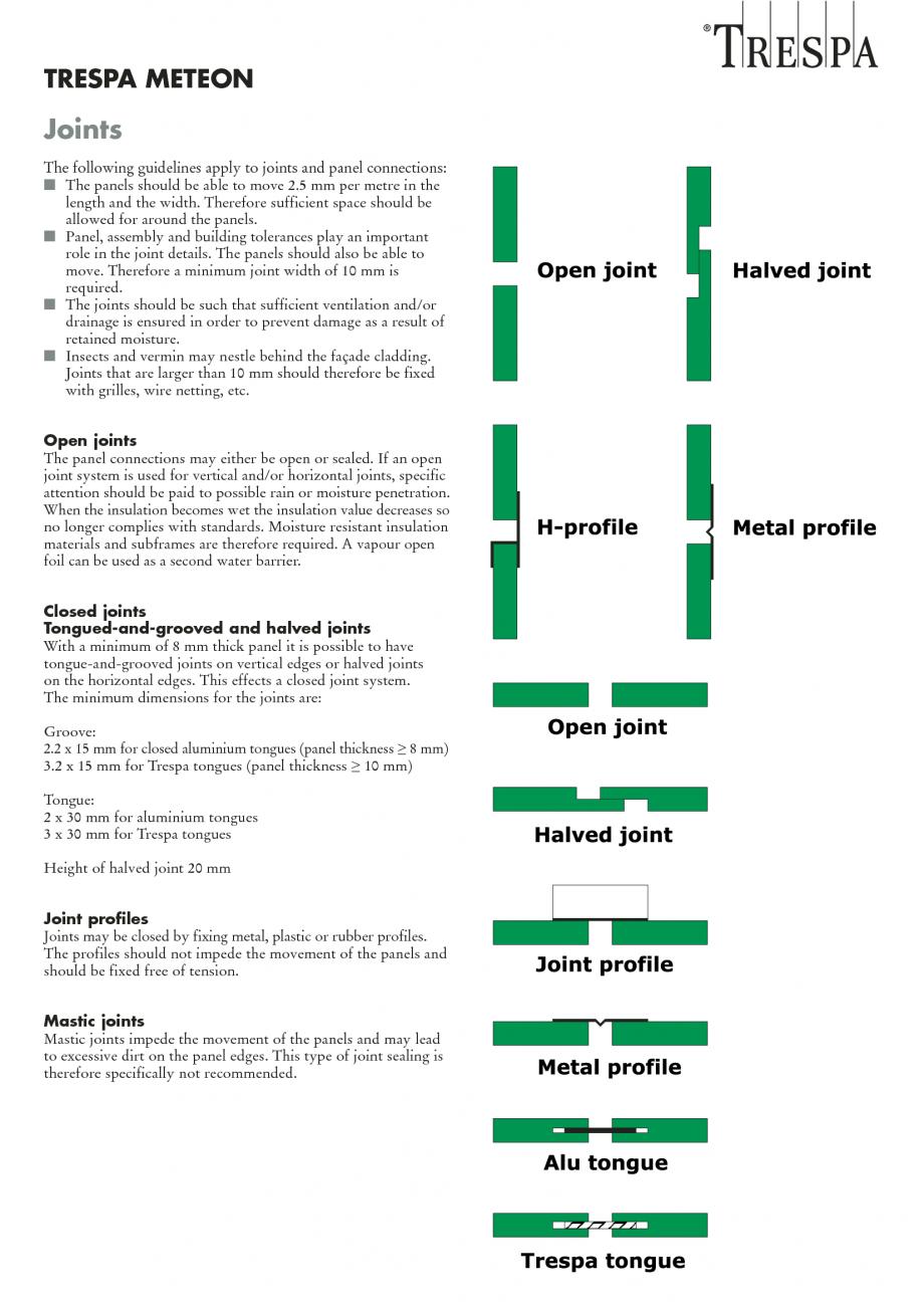 Fisa tehnica Sisteme de panouri pentru fatade ventilate, tipuri de imbinari ale panourilor METEON TRESPA Placi HPL pentru fatade ventilate GIBB TECHNOLOGIES TRESPA METEON  Joints The following guidelines apply to joints and panel connections: I The panels... - Pagina 1